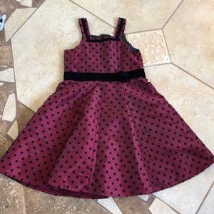 Sz 5 Carters wine & black velvet dot Holiday dress